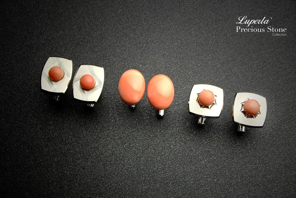 大東山珠寶 簡約線條 仕紳系列 天然粉珊瑚  西裝領徽 袖扣 5
