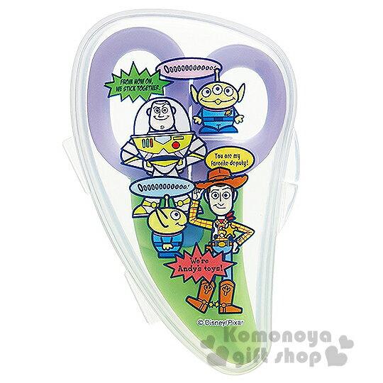 〔小禮堂嬰幼館〕迪士尼 玩具總動員 嬰兒食物剪刀《紫綠.透明.站姿.多角色》附收納盒