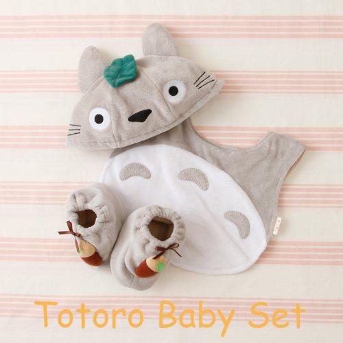 【真愛日本】14090100002 嬰幼童帽圍兜鞋禮盒-灰龍貓 龍貓 TOTORO 豆豆龍 嬰兒用品 彌月送禮