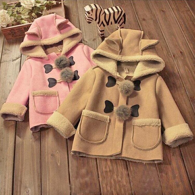 【葉子小舖】韓版兒童大衣外套/加絨加厚男童裝/女童裝/冬季套裝//寶寶冬裝/小孩衣服/保暖防寒