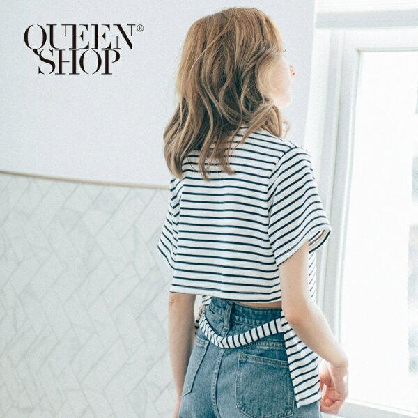 QueenShop【01037091】後銀釦腰帶造型條紋上衣兩色售*預購*