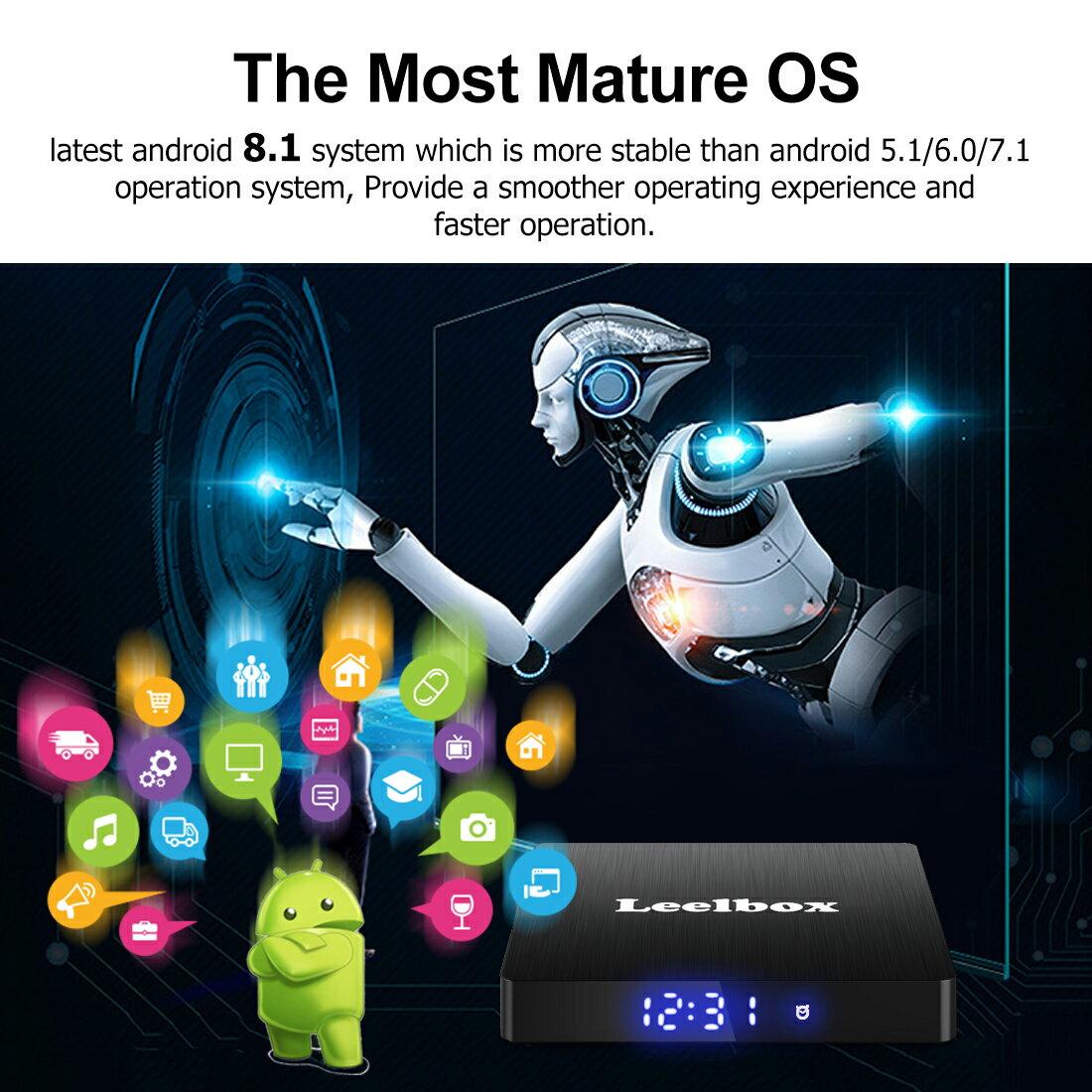Leelbox Q4 MAX Android TV Box 8 1 4GB RAM+64GB ROM Quad-Core 2 4GHz Support  BT 4 1/WiFi/3D/4K/H 265 Media Box
