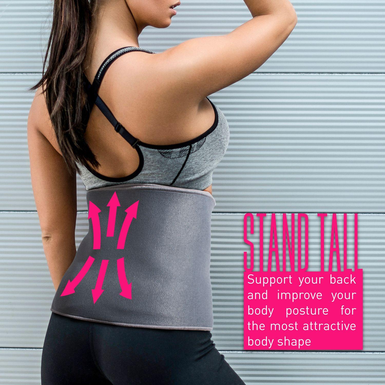 INNOKA Fat Burning Waist Trimmer Gym Running Exercise Wrap Belt Shapewear Sweat Weight Loss Body Shaper - Grey 2