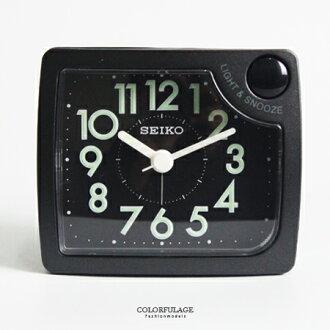 SEIKO日本精工 輕巧上市漸強式嗶嗶聲鬧鈴黑色方形貪睡鬧鐘 柒彩年代【NV1693】原廠公司貨