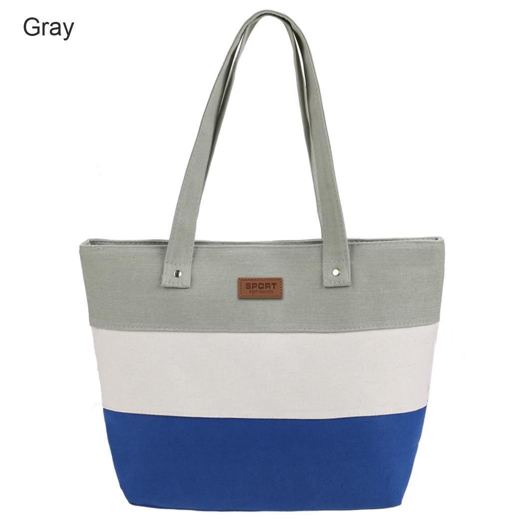 Women Large Capcity CanvasStripe Contrast Color Handbag 2