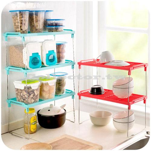 【F16100504】長款-繽紛糖果色多用途可折疊多層組合置物架 桌面整理 浴室衛生 居家生活間雜物收納架