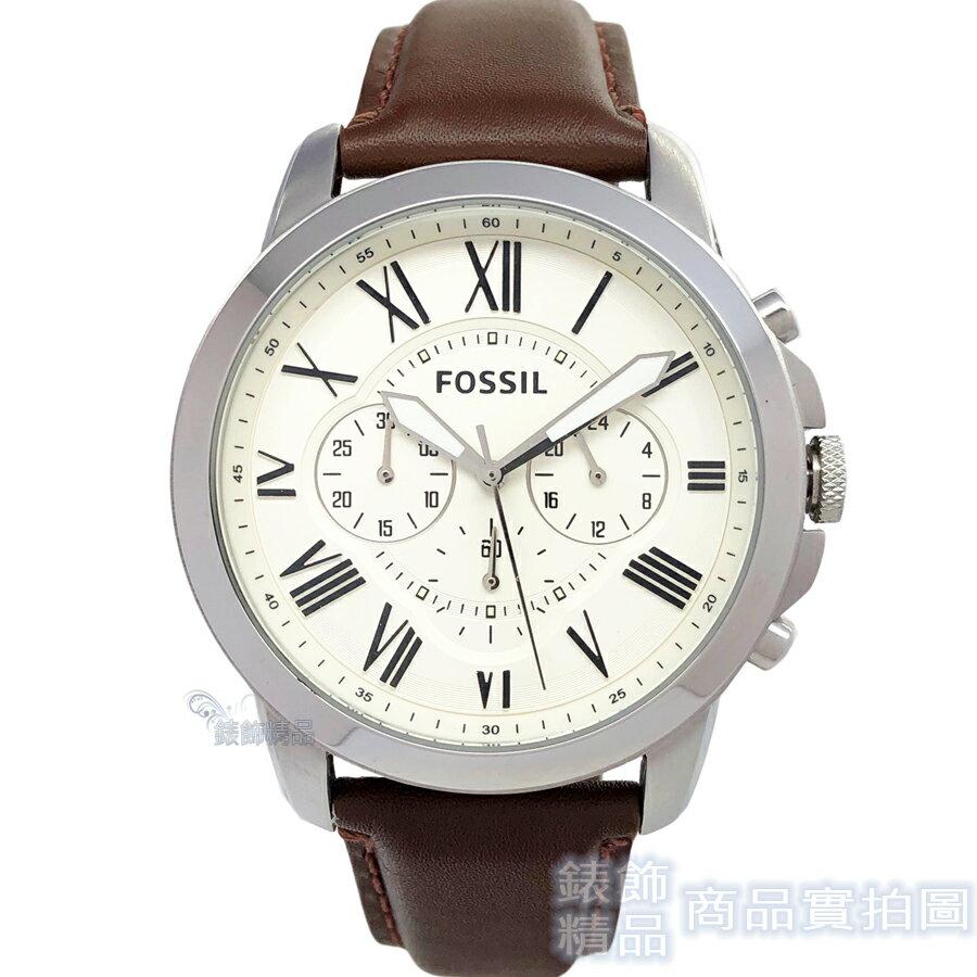 FOSSIL 手錶 FS4735 IE 羅馬時標 三眼計時 米白面 棕色錶帶 44mm 男錶【錶飾精品】