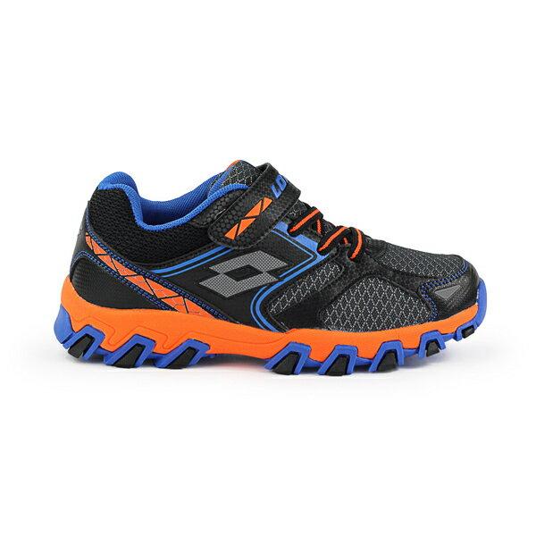 【巷子屋】義大利第一品牌-LOTTO 童款冒險王 防潑水越野跑鞋 [7030] 黑 免運