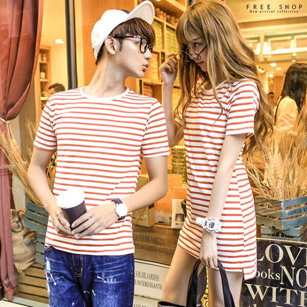 FreeShop情侶款細橫條紋棉短袖上衣男短T恤女連身裙情侶裝紅白黑白條紋【QAAEG7304】