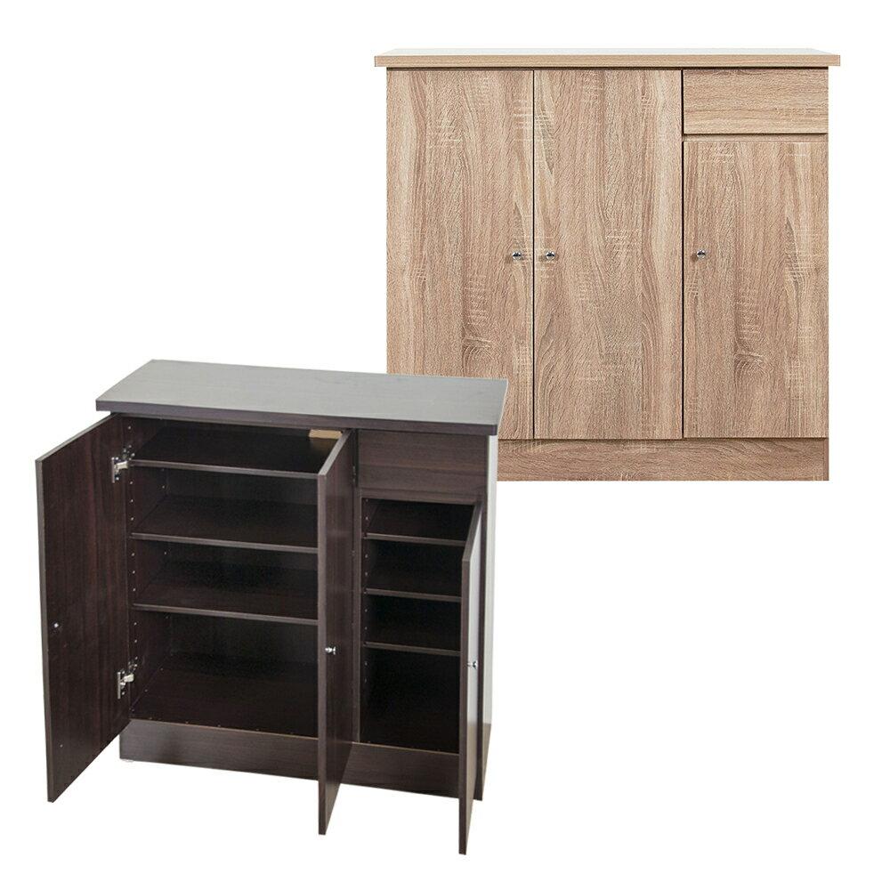 現貨 免組裝 自然橡木3尺4層(層板可調整)三門單小抽屜鞋櫃 2色可選 玄關櫃 置物櫃 隔間櫃 收納櫃 台灣製 原森道