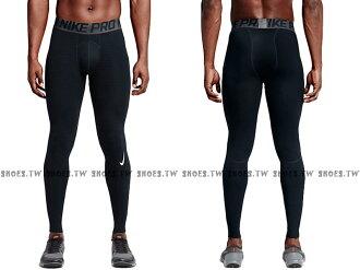 Shoestw【725039-010】NIKE PRO WARM 緊身 長束褲 內刷毛 防寒 條紋 黑色 男生
