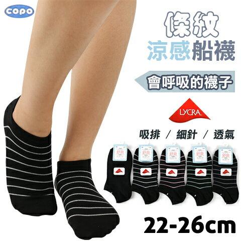透氣吸排細針條紋涼感船襪台灣製倍宇