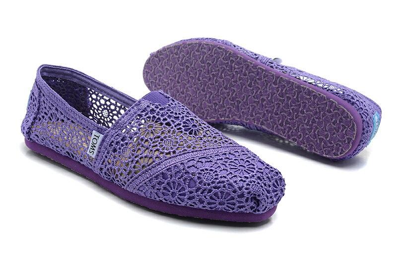 全店點數20倍│【TOMS】深紫色蕾絲鏤空繡花平底休閒鞋  Purple Crochet Women's Classics 5