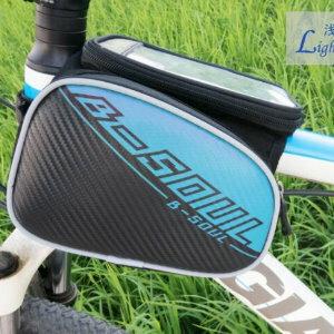 美麗大街【ML106082407】b-soul山地自行車皮革前橫梁包上車管包手機觸屏包騎行裝備(5.5寸)