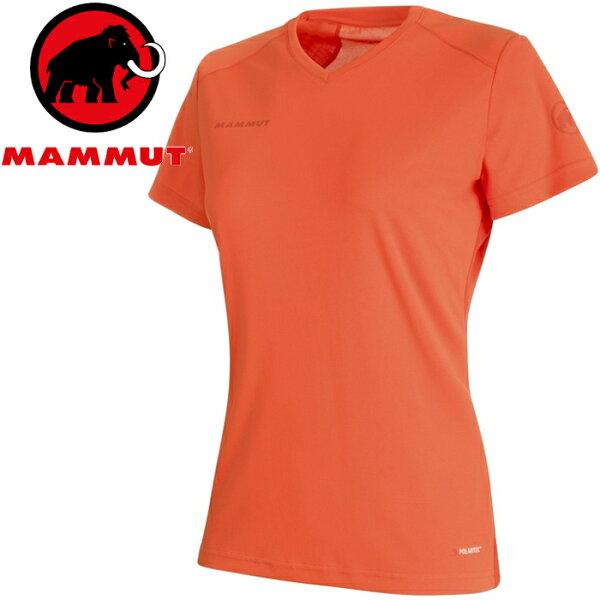 Mammut長毛象登山排汗衣V領短袖運動T恤登山健行路跑野跑SertigT-Shirt女款1017-001403459小檗紅