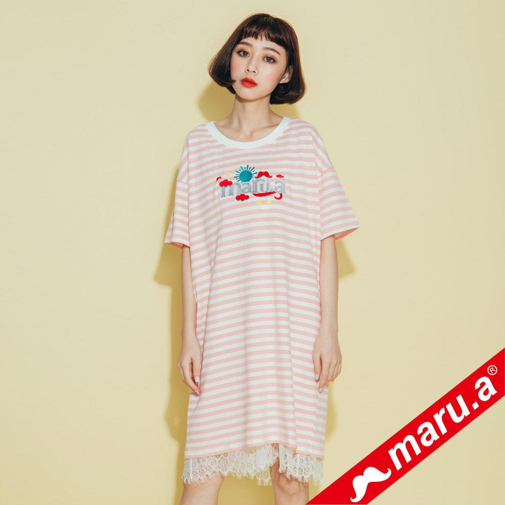 【maru.a】條紋長版蕾絲兩件式洋裝(2色)8317112 5