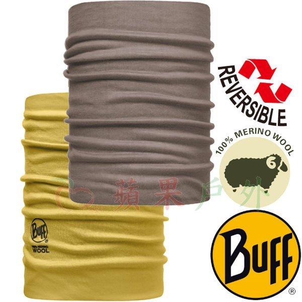 【【蘋果戶外】】BF108825BUFF美麗諾羊毛雙面魔術頭巾黏土黃褐冬季保暖100%merinowool
