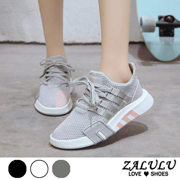ZALULU愛鞋館7EE044預購簡約配色款線條綁帶布鞋-偏小-黑灰白-36-43