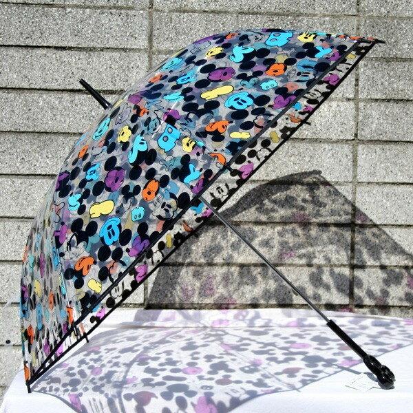 【真愛日本】16040800001 造型頭直傘60cm-MK滿版透明黑 米老鼠 米奇 雨傘 透明傘 卡通傘 雨具