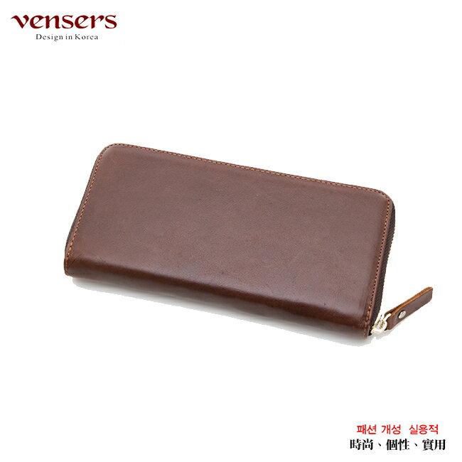 【vensers】 小牛皮潮流個性皮夾~ (NB0887509深棕長夾) 4