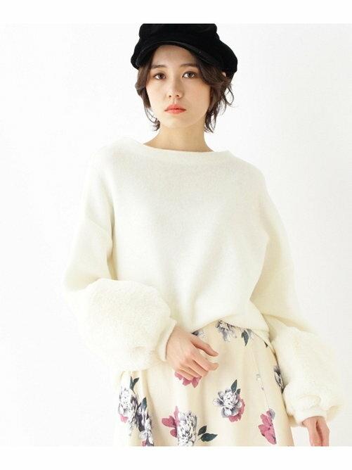 OZOC 圓領 袖口拼接毛皮 針織衫 日本必買 日本直送 代購/日貨/雜誌