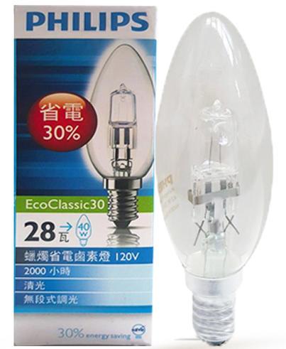 PHILIPS 飛利浦 E14燈頭 28W EcoClassic30蠟燭省電鹵素燈泡 燈泡 尖清燈 蠟燭燈 黃光【永光】PH-28W11014RF