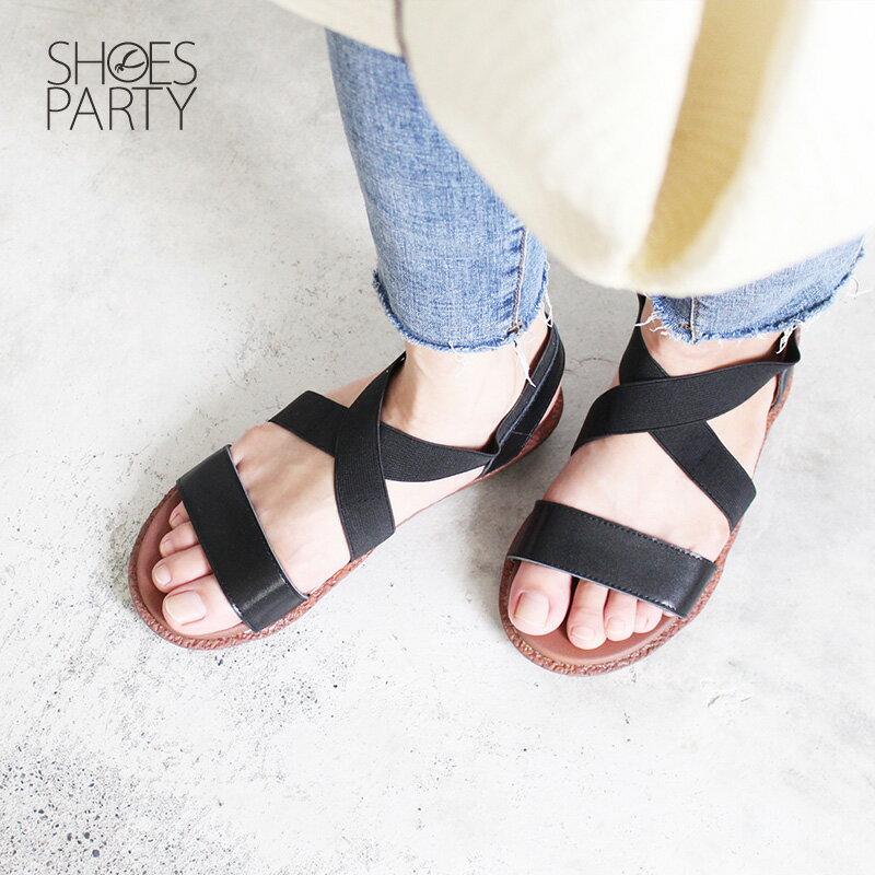 【S2-18429L】Simple+改良版交叉鬆緊帶漢堡底涼鞋_Shoes Party 3