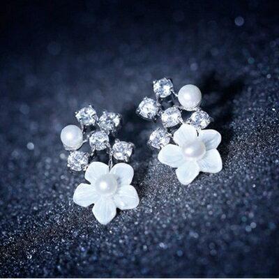 ~925純銀耳環鑲鑽耳飾~ 百搭珍珠花朵情人節生日 女飾品73du19~ ~~米蘭 ~