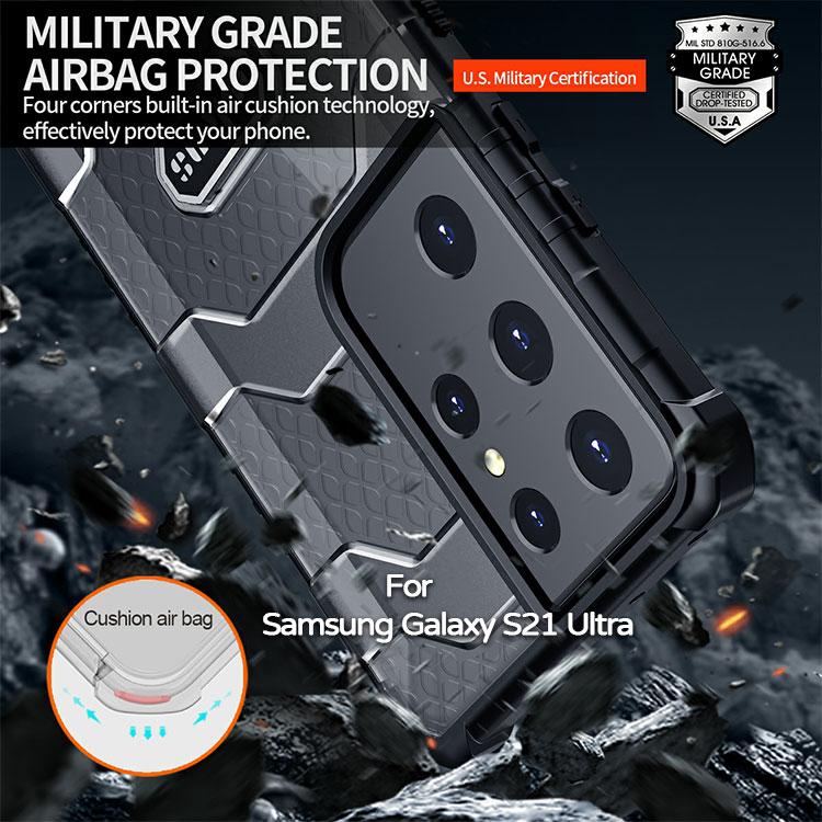 【軍工級防摔殼】三星 Samsung Galaxy S21 Ultra 6.8吋 5G 探索者防摔殼/氣囊保護殼/手機背蓋/半透明殼-ZW