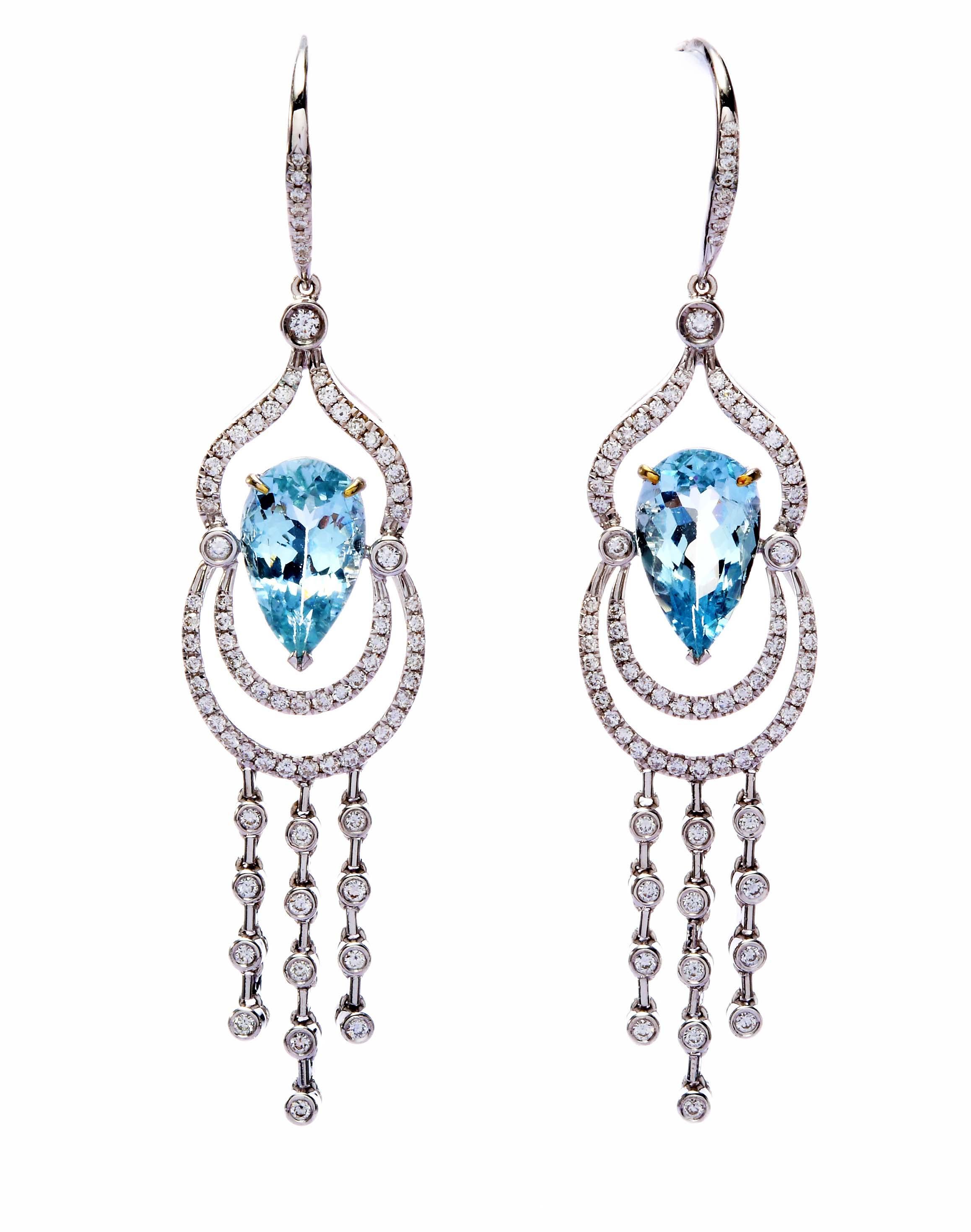 ~樂采珠寶~18白K金 風華-海水藍寶珠寶耳環.