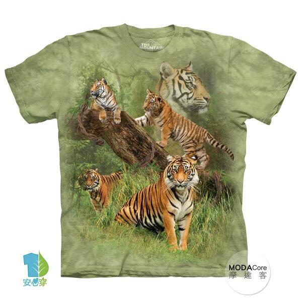 【摩達客】(預購)美國進口TheMountain野虎群純棉環保藝術中性短袖T恤