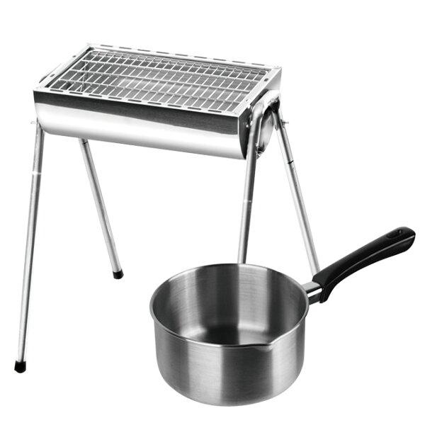 MoliFun魔力坊316不鏽鋼無鉚釘雪平鍋調理鍋-18cm+點秋香不鏽鋼碳烤爐~中秋烤肉必備(MF0365+BF4225)
