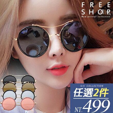 情侶款 Free Shop【QFSSG9174】韓國風格時尚系修飾臉型圓形框金屬復古彩色鍍膜太陽眼鏡墨鏡