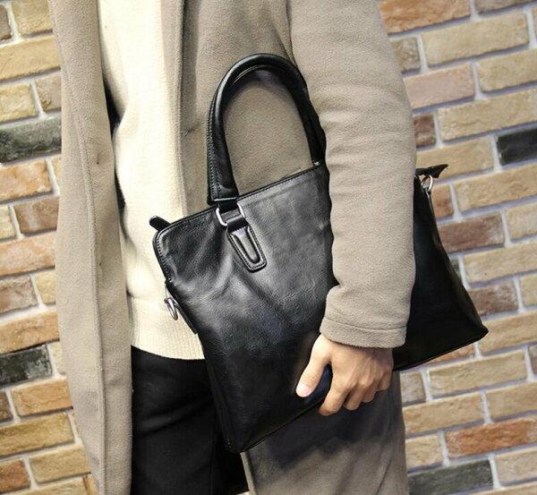 FINDSENSEZ1韓國時尚潮男皮質黑色多功能休閒商務手提包單肩包側背包電腦包公文包