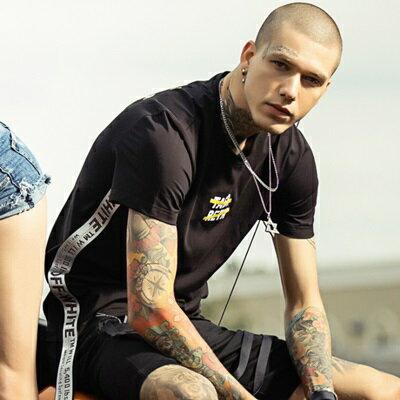 短袖T恤休閒上衣-時尚有型側邊織帶男打底衫2色73sq10【獨家進口】【米蘭精品】