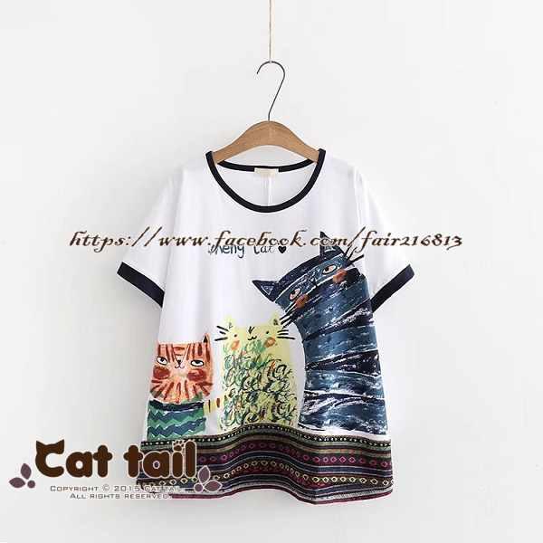 《貓尾巴》TS-0791可愛搞怪貓貓印花寬鬆短袖上衣(森林系日系棉麻文青清新)