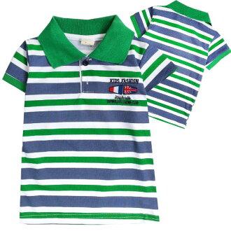 【班比納精品童裝】胸國旗英字藍綠條紋POLO衫-綠【BM150205064】