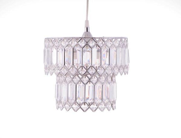 鍍鉻銀鐵花邊透明壓克立吊燈-BNL00056