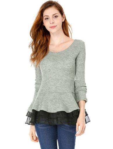 Unique Bargains Women's Organza Panel Layered Hem Slim Fit Pullover Peplum Top Gray (Size XL / 16) 44864808ebc3899298be5ca0868f390d