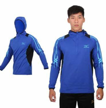 [陽光樂活] MIZUNO 美津濃 長袖連帽 T恤 外套 保暖 32TA553222 藍