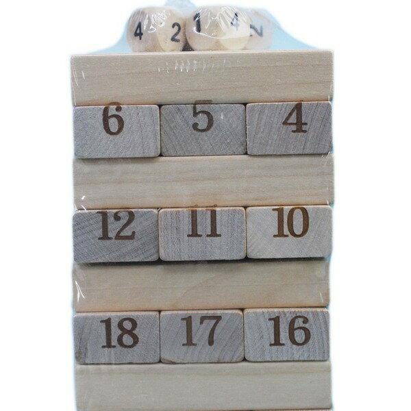 大疊疊樂 原木色數字疊疊樂 (木材) / 一盒54支入 { 促150 }  益智疊疊樂 平衡遊戲~AA-5569 3