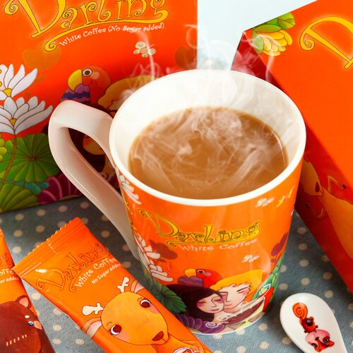 《親愛的買2送10》橘˙白咖啡不加糖2入(贈10包裝1盒)~再加贈吸水杯墊 0