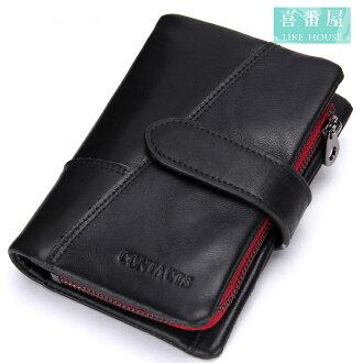 【喜番屋】日韓版真皮頭層牛皮男士可拆卸零錢包皮夾皮包錢夾男夾短夾中夾LH384