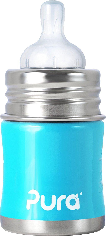 【淘氣寶寶】美國 Pura Stainless Kiki 不鏽鋼奶瓶(寬口徑/藍) 5oz =150ml 不含雙酚A 【保證原廠公司貨】