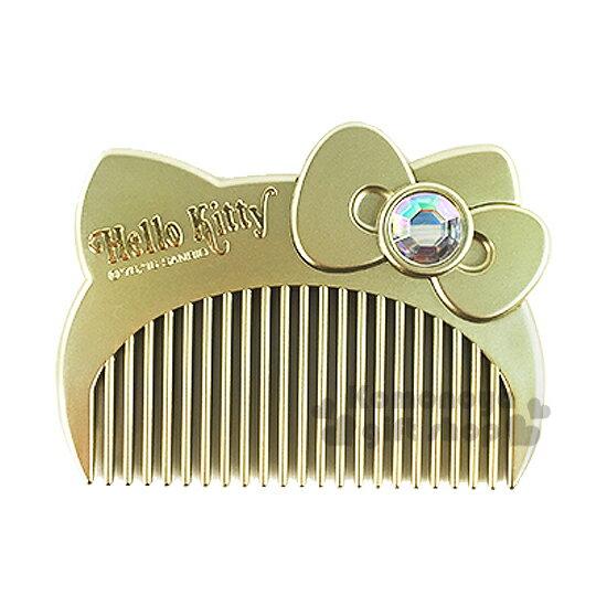 〔小禮堂〕Hello Kitty 造型平扁梳子《金.大臉.盒裝》
