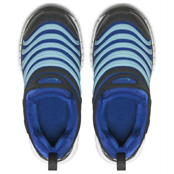 Shoestw【343738-428】NIKE DYNAMO FREE 童鞋 毛毛蟲 中童鞋 藍灰水藍 可凹折 2