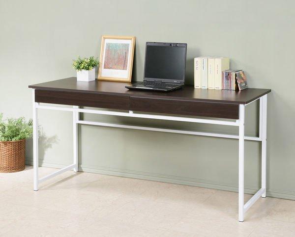 160穩固耐用防潑水加長電腦桌(附兩抽屜)工作桌 書桌 辦公桌~【馥葉】型號DE1660-2DR