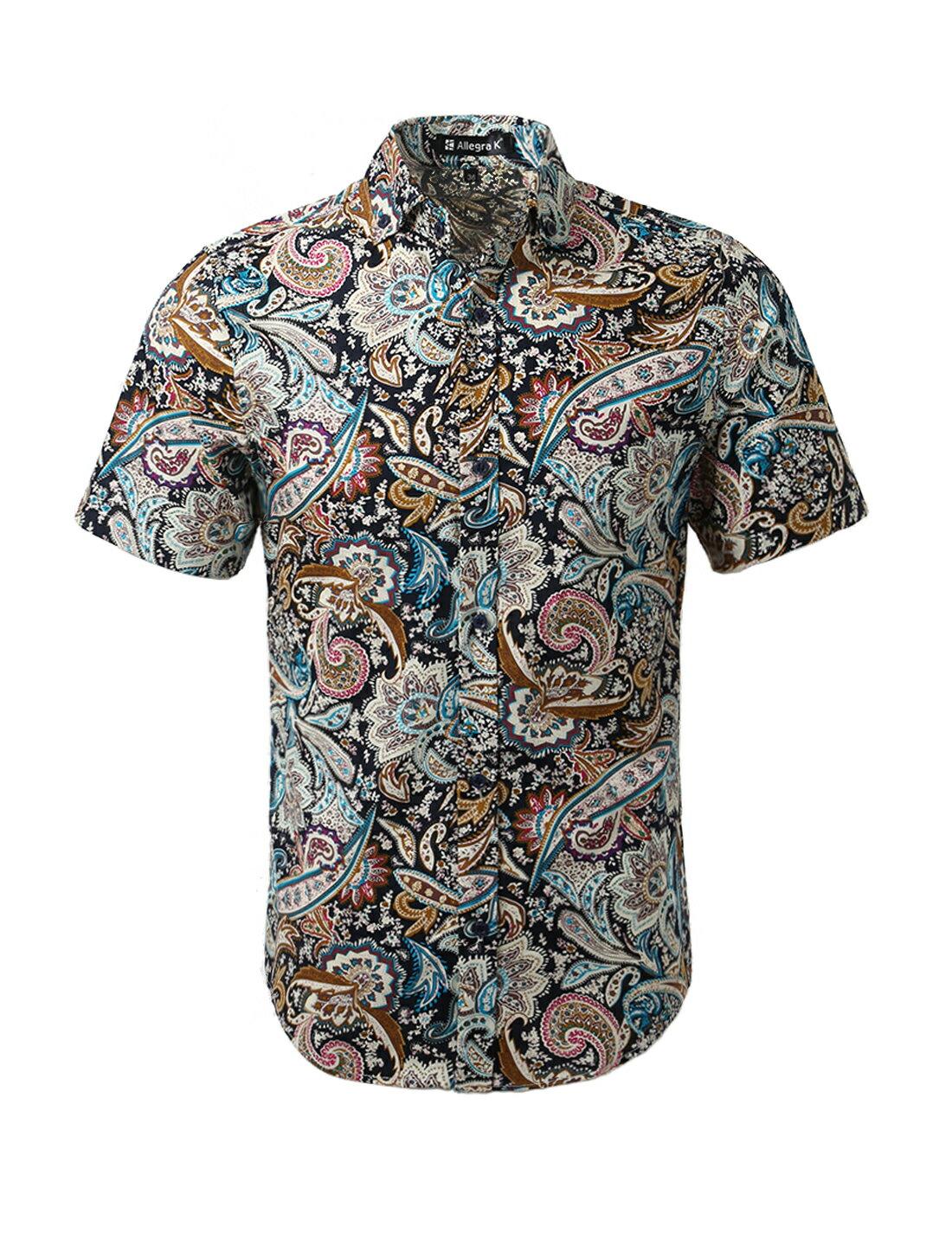 7d02fff1e68 Unique Bargains Men's Summer Button Down Casual Floral Print Short Sleeve  Shirt 0