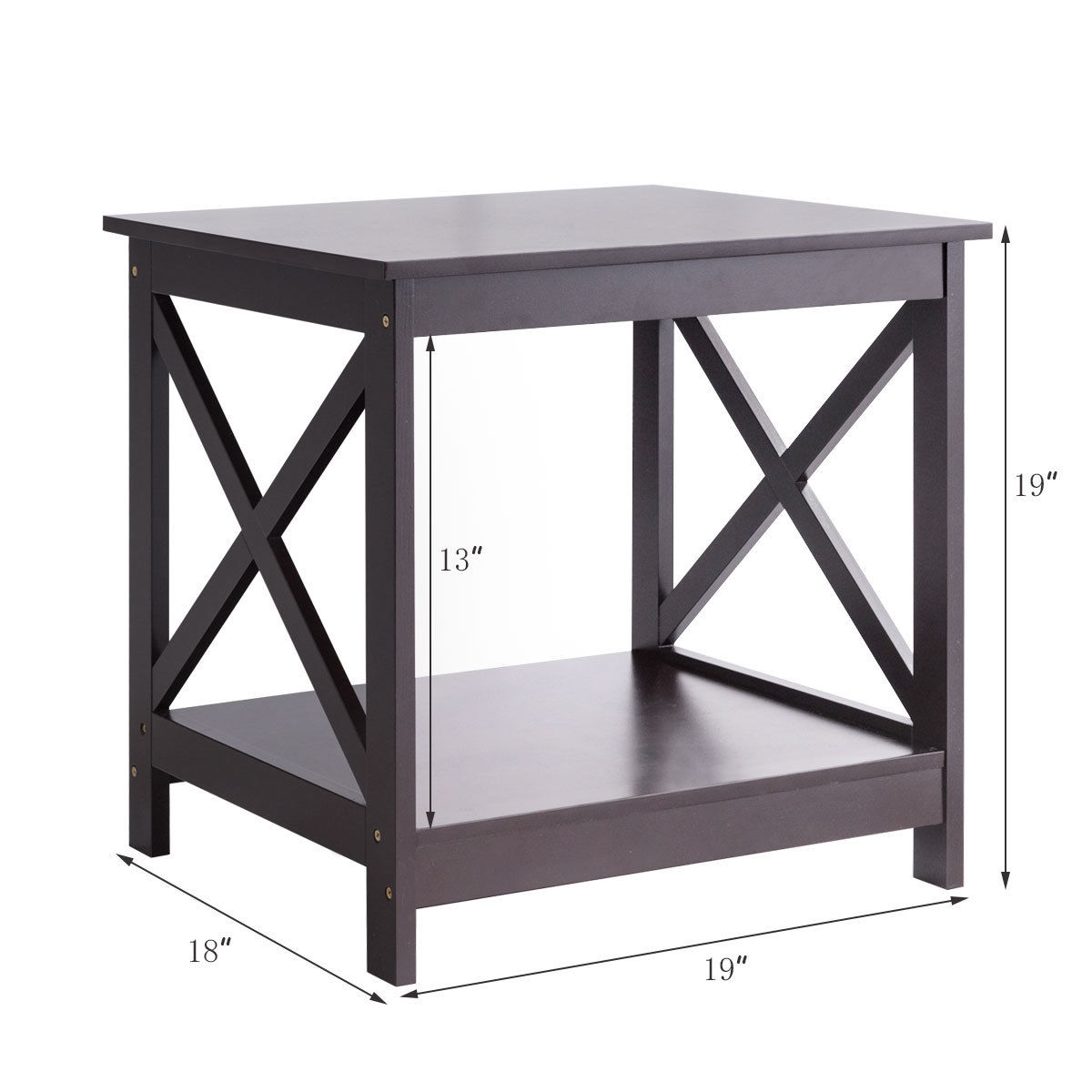 Costway End Table X Design Display Shelves Accent Sofa Side Nightstand Brown 1