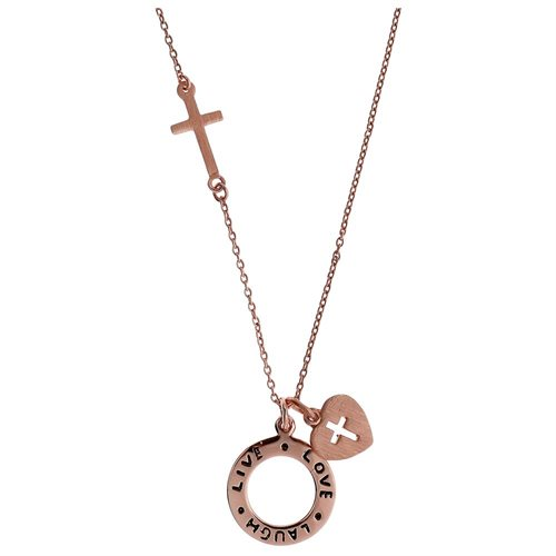 'Laugh Live Love' Heart Pink Gold Vermeil Solid Sterling Silver Cross Necklace 0